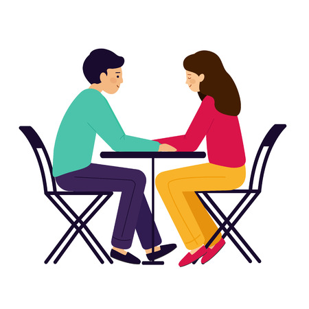 Girl and guy sitting at the table. A couple of man and woman talking. Vector illustration, white background.
