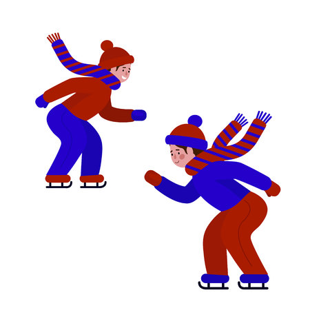 The boy is skating. Ice skater on ice, winter sport. Vector illustration, white background.
