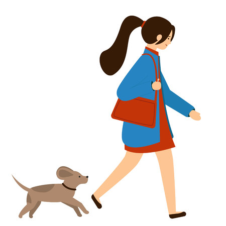 The dog runs after the young woman. Girl in a coat with a bag walking the dog. Vector illustration, character in flat style. White background.