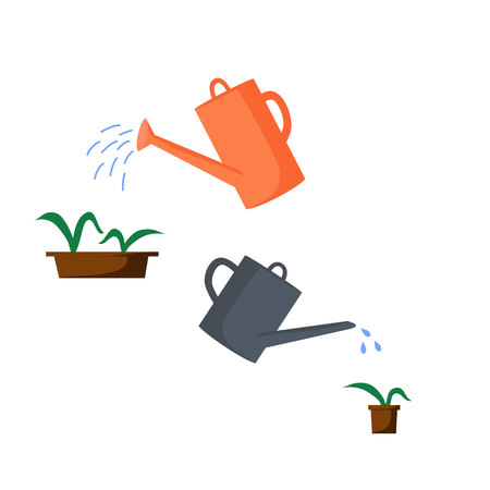 Old watering cans of different colors and shapes. Watering pots with plants from watering cans. Vector illustration in flat style. Vetores