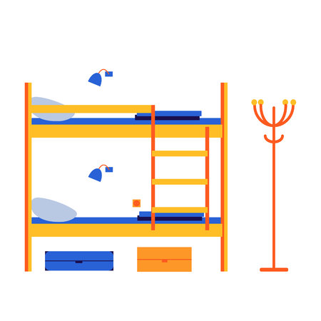 Hostel, mini-hotel. Interior room with bunk beds. Vector flat illustration.