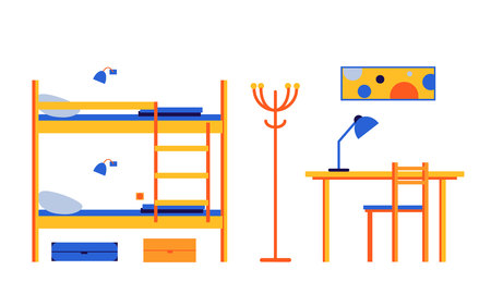 Hostel, mini-hotel. Interior room with bunk beds, table, chair. Vector flat illustration.