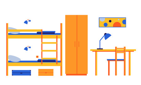 Hostel, mini-hotel. Interior room with bunk beds, wardrobe, table, chair. Vector flat illustration.