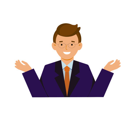 A young man in a suit and tie. Character in flat style, vector illustration. Çizim