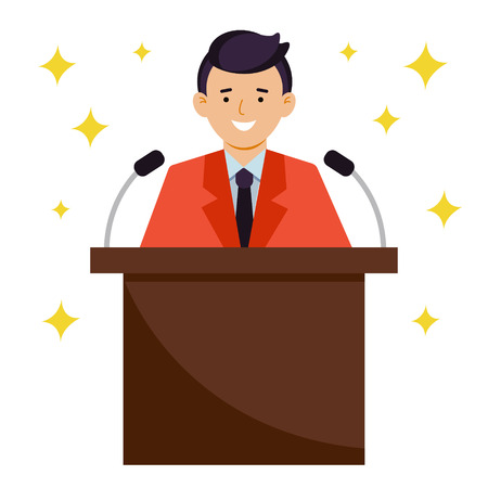 The speaker smiles. A man in a suit talking into microphones. Vector illustration, character in flat style.