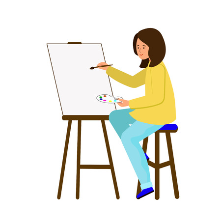 The girl sits at the easel and paints a picture. A young woman, an artist holding a brush and a palette of paint. Vector illustration, character in flat style. Ilustração