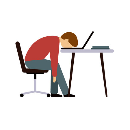 Professional burnout. A man in the office after a long hard days work. The guy sitting at the table with his head resting on the laptop keyboard. Vector illustration.
