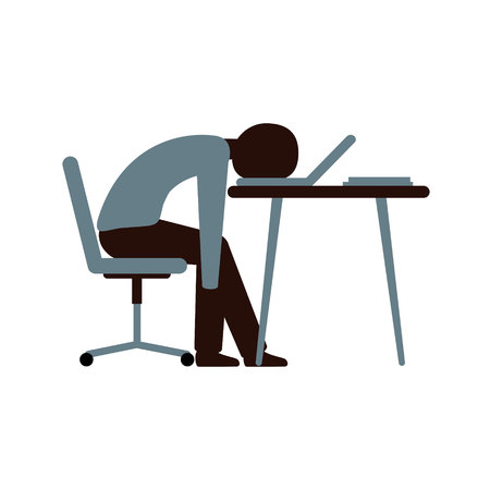 Professional burnout. Exhausted man sitting in the office at the table, putting his head on the laptop keyboard. Long, hard day at work. Vector illustration, character in flat style.