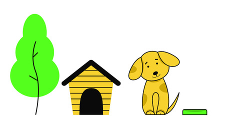 The dog sits next to the doghouse, a tree and a bowl. Cute puppy with large ears bowed his head to one side. Vector illustration, white background.