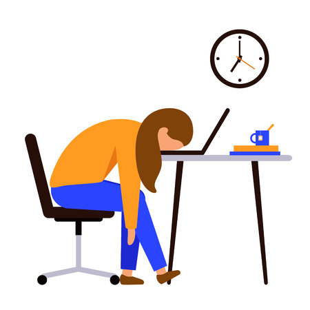 Professional burnout. Woman after a long hard day sitting at the table, putting his head on the laptop keyboard. On the wall are hanging clock. Vector illustration. 向量圖像