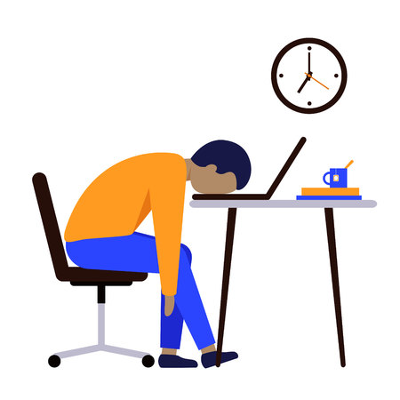 Professional burnout. A man after a long hard days work sitting at the table, putting his head on the laptop keyboard. On the wall are hanging clock. Vector illustration. 向量圖像