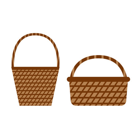 Wicker willow baskets. Set of picnic baskets. Basket icons in flat style on white background. Vector illustration