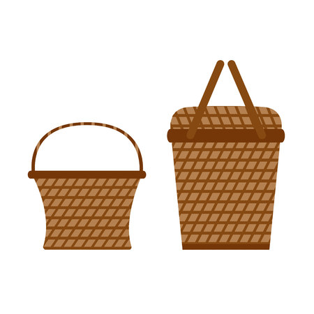 Wicker willow picnic baskets. Set of baskets isolated on white background. Basket icons in flat style. Vector illustration.