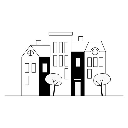 Old town houses, apartment buildings, trees. Urban landscape. Black and white illustration.