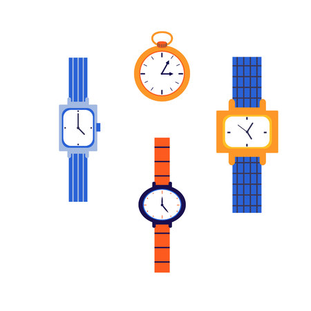 Set of mechanical watches. Wrist and pocket watches. Multi-colored watch with straps. Vector illustration. White background.