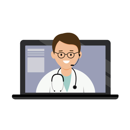 Doctor on-line consultation. Appointment of treatment via the Internet. Modern medical technology. Vector illustration.