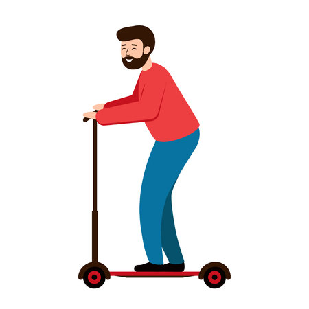 A happy man with a beard rides a scooter. Bearded guy riding a scooter. Vector illustration, white background.