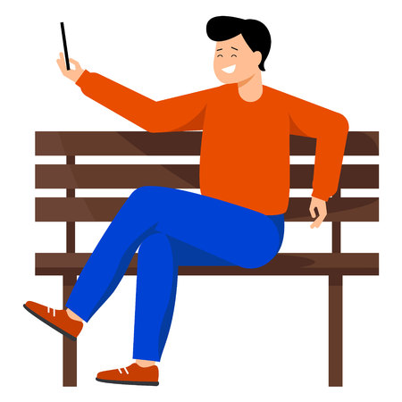 A young man takes a selfie. The guy sits on a bench and holds the phone in his hand. The man smiles and takes pictures of himself. Vector illustration in flat style. Illustration