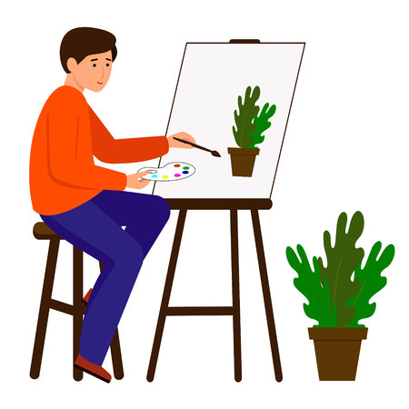 A man draws a picture. The artist holds a brush and paint. The character sits at the easel. Vector illustration.