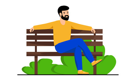 A guy with a beard sitting on a wooden bench in the Park. Man resting in the city Park on a day off. Vector illustration, white background.