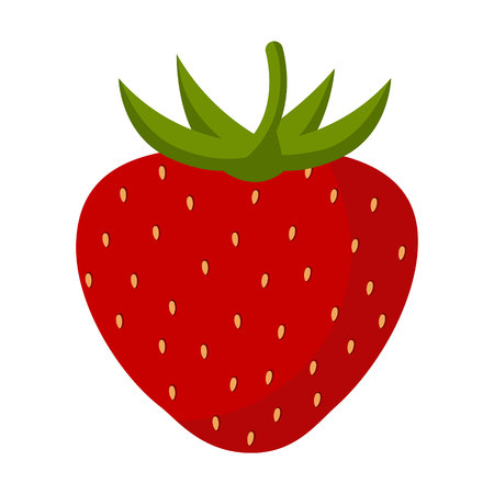 Berry strawberry on a white background. Strawberry red with green leaves. Vector illustration, character in flat style.