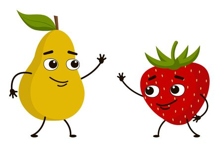 Funny fruit pear waving to the strawberry. A cute character greets a friend. Character strawberry and pear together. Vector illustration.