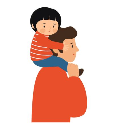 Girl sitting on the shoulders of men. Father carries daughter on his shoulders.  Vector illustration, flat style
