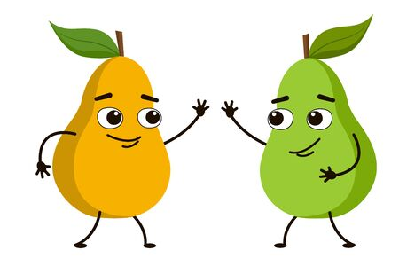 Funny fruit pear waving his hand. A cute character greets a friend. Vector illustration.
