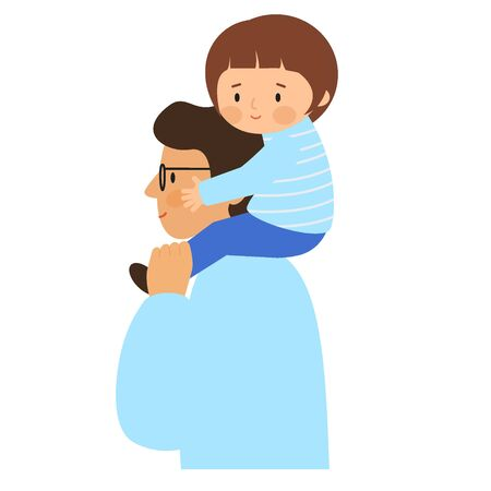Girl sitting on the shoulders of men. Father carries daughter on his shoulders.  Vector illustration, flat style.
