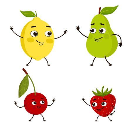 Set of fruits and berries. Lemon, pear, cherry and strawberry greet each other. Characters fruit happy meeting. Vector illustration.