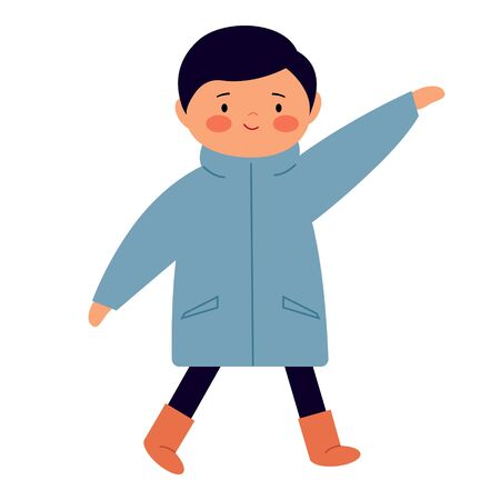 A little boy in a coat waving. Cute funny baby walking and smiling. Character in flat style. Vector illustration. Banco de Imagens