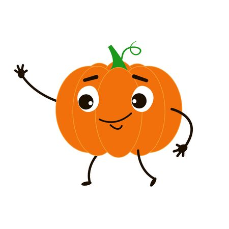 Funny pumpkin goes and waves his hand. Cute character in the style of flat. Vector illustration. Banco de Imagens