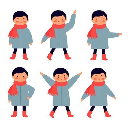 Personnage de dessin animé mignon dans différentes poses. Le garçon bouge, se lève, marche, agite les mains. Ensemble de dessins dans le style d'appartement.