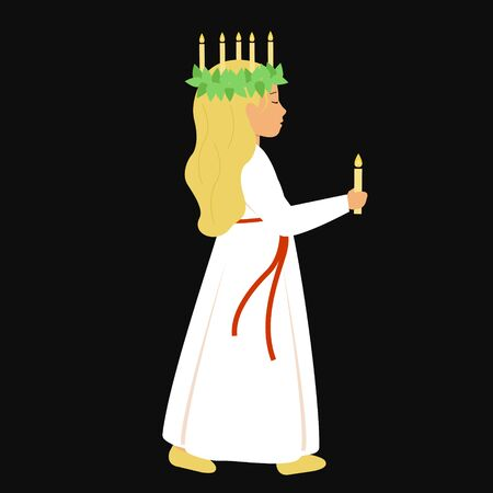St. Lucia day. A girl in a white dress and a wreath of candles holding a candle. Cute character in the style of flat