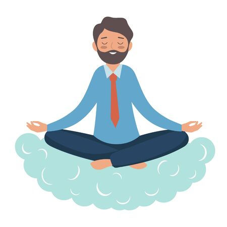 A guy in a tie sits on a cloud and meditates. An office worker in the Lotus position gets rid of stress. Illustration in the flat style