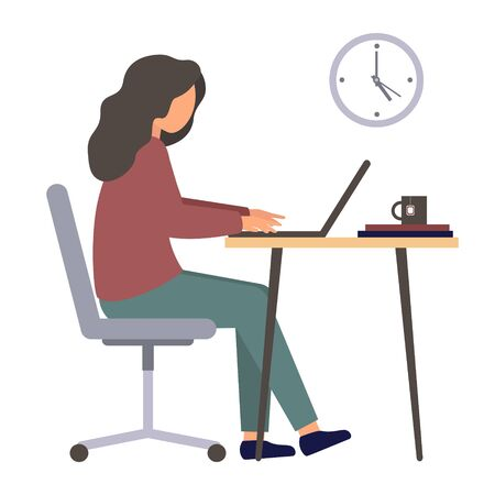 A person works at a computer. Programmer in the workplace. A character in the flat style