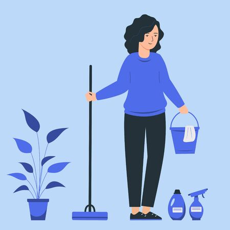 A young female does the cleaning of the house. Woman holds a mop and a bucket.