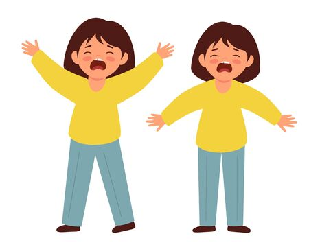 Little girls cry out loud. Upset children scream in hysterics. Character on a white background.