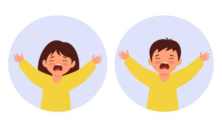Little children pull their hands up and cry. Portraits of babies. The boy and girl are naughty and screaming. Flat style characters.