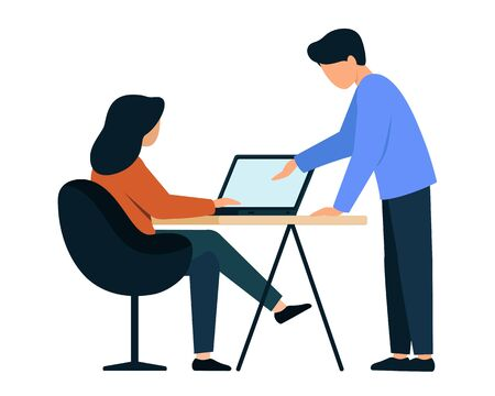 A woman works at a laptop, a man stands nearby. The teacher helps the student to solve the problem. Characters on a white background.