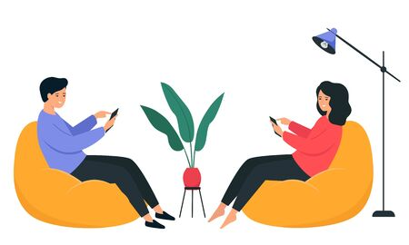 A guy and a girl are sitting on a bean bag chair and holding a smartphone in their hands. Happy young people communicate on the Internet. Interior illustration on a white background