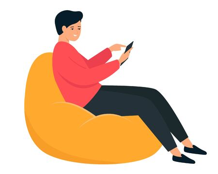 The guy is sitting in a bean bag chair. A young man holds a smartphone in his hand. Illustration on a white background.