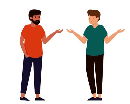Two guys are chatting on white Vector Illustration