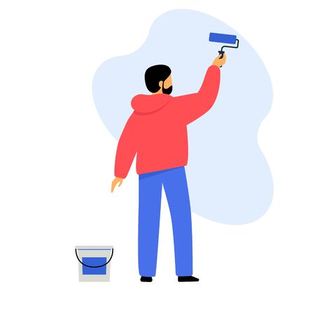 A man paints a wall with paint. Worker makes an apartment repair. Illustration on a white background