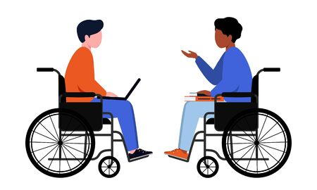 Handicapped guy sitting in a wheelchair. A disabled student holds a laptop on his lap.