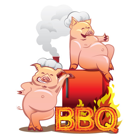 pig roast: Two funny pigs near the red smoker