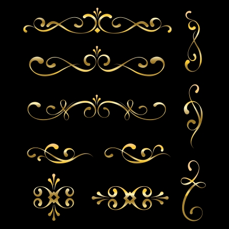 Gold decorative elements and ornaments