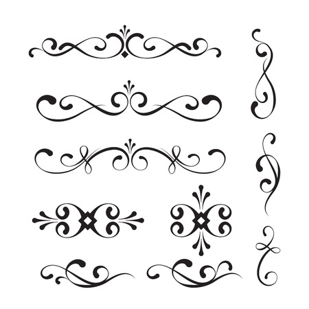 scroll design: Decorative elements and ornaments  Illustration