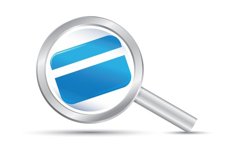 Search the blue credit with silver magnifying glass 向量圖像