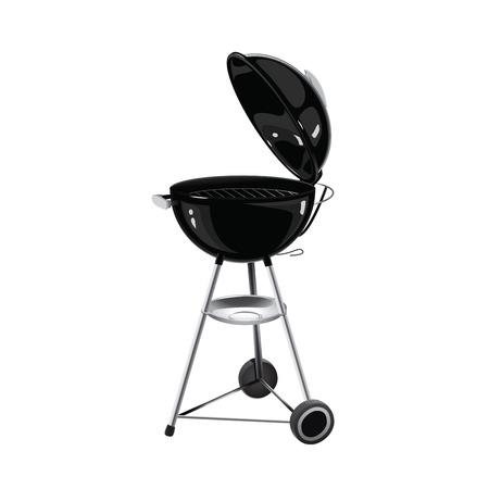 bbq grill: Realistic vector black Barbecue grill
